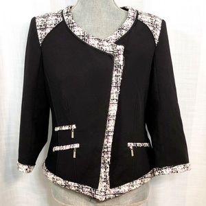 White House Black Market Tweed Blazer Purple SZ 10